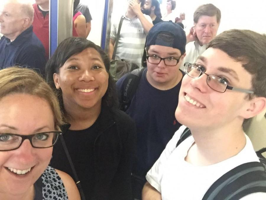 Mrs. Forgette, Emily, me, and Matthew (The Squad) about to enter the Jet Bridge to the airplane at Hartsfield-Jackson
