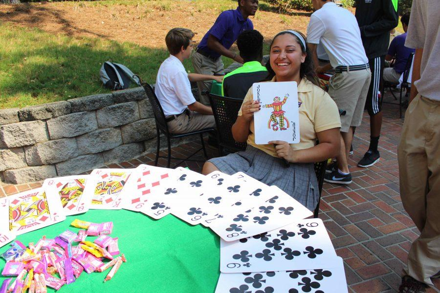Casino Day requires a certain sense of humor. Senior Emily Webster is all laughs as she appropriately held a joker playing card.