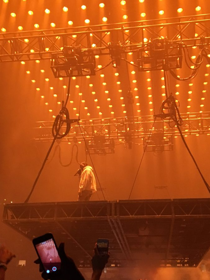 Kanye West on stage at his show in Atlanta