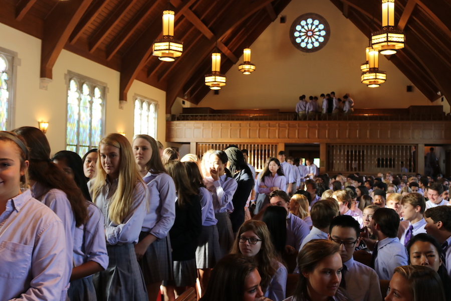 Upper School students line up to sign the Honor Book in the Morris Chapel on Sept. 8