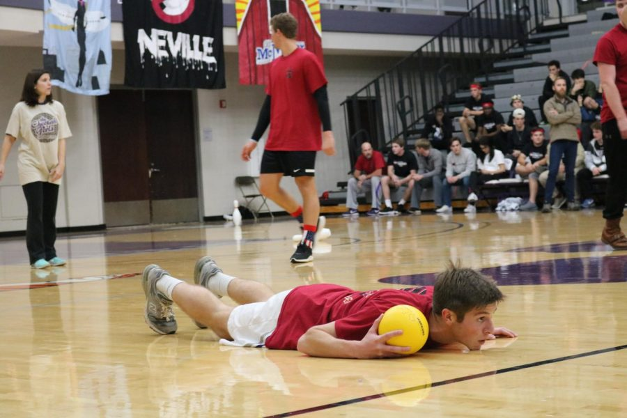 Junior Smith Wheeler (Summerbell) lays on the ground after dodging a ball. Summerbell and Cooper competed and won against Thornwood and Neville.