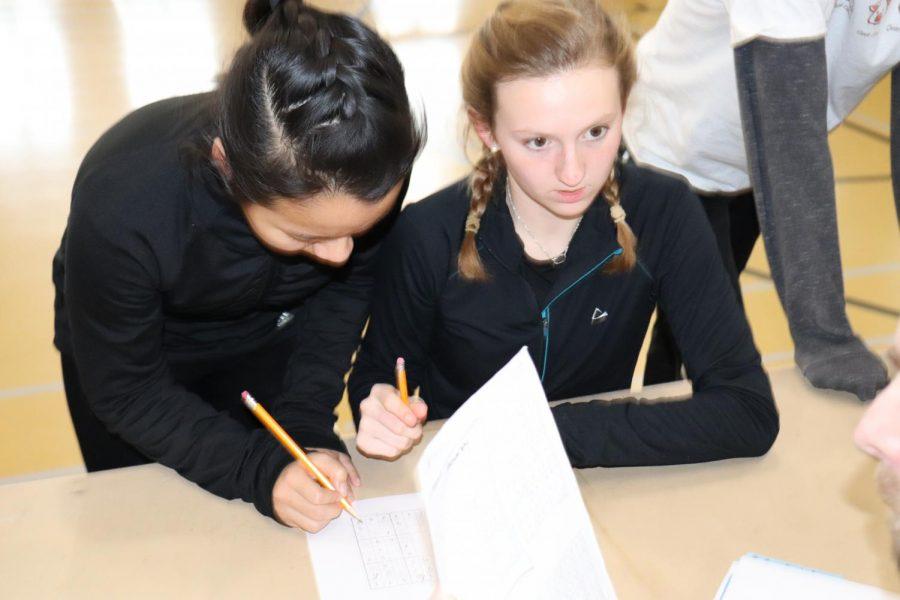 Senior Stacy Chen and junior Ashley Hankinson do sudoku for Cooper.