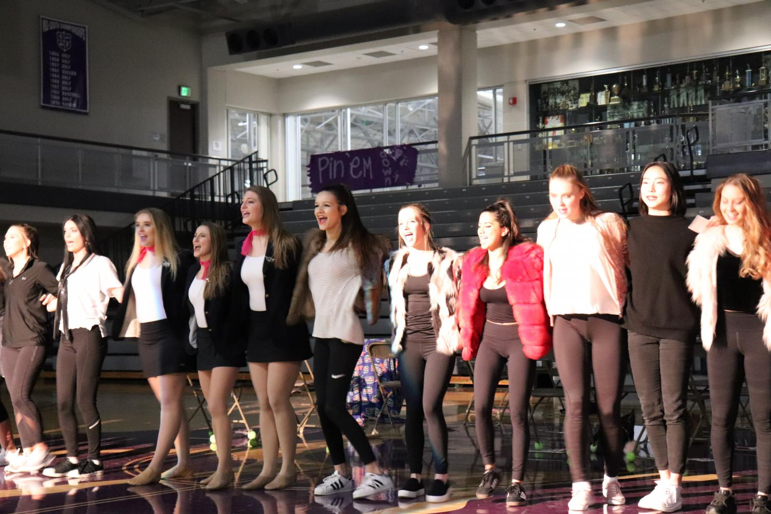 The+Thornwood+girls+dance+in+a+line.+